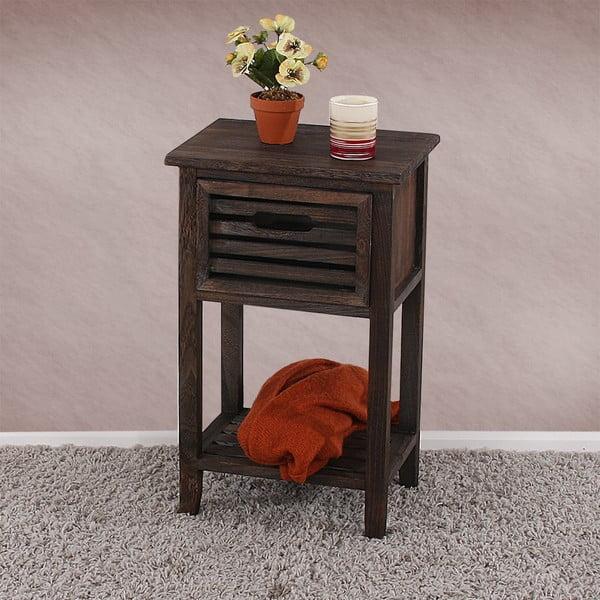Hnědý dřevěný noční stolek na nožičkách Mendler Shabby