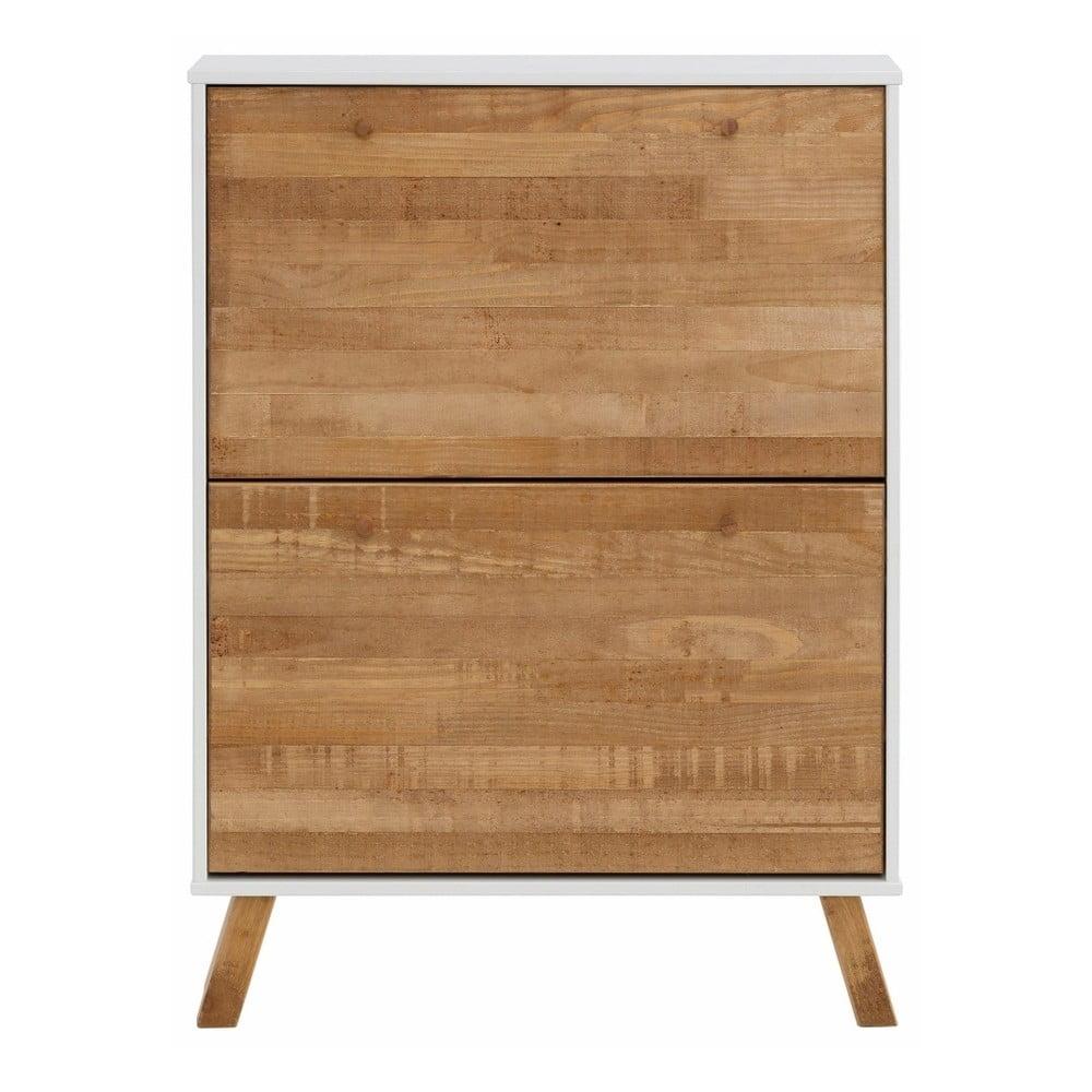 Botník z masivního borovicového dřeva se 2 výklopy a bílými detaily Støraa Rafael
