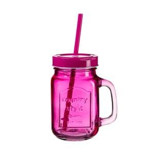 Tmavě růžová sklenice s víčkem a brčkem SUMMER FUN II BUNT, 450ml