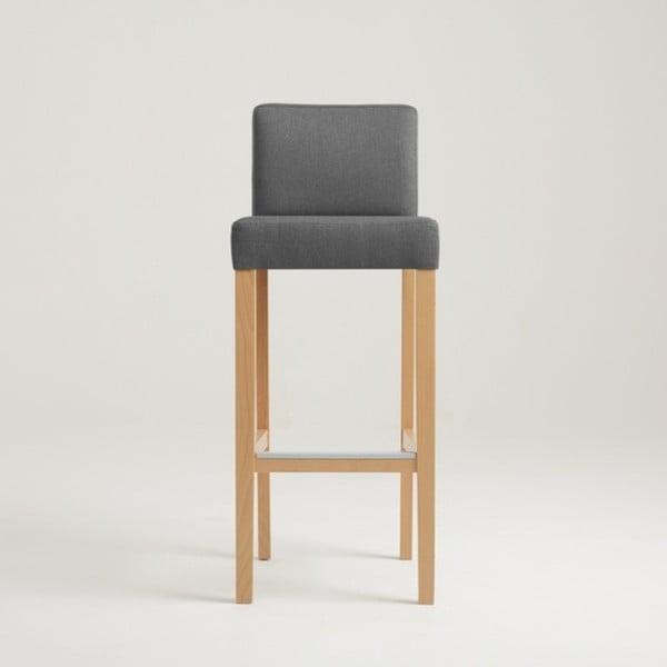 Tmavě šedá barová židle s přírodními nohami Custom Form Wilton