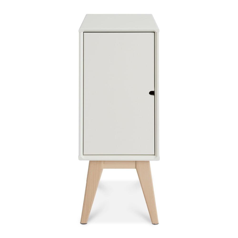 Bílý ručně vyráběný noční stolek z masivního březového dřeva Kiteen Notte