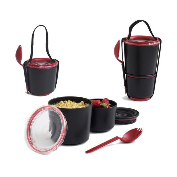 Bol pentru gustări Black + Blum Lunch Pot, negru - roșu