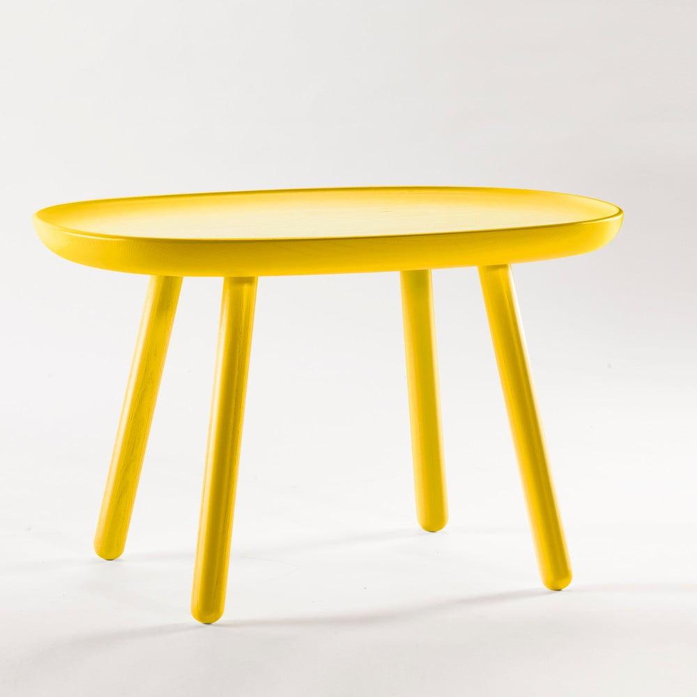 Žlutý odkládací stolek z masivu EMKO Naïve Medium