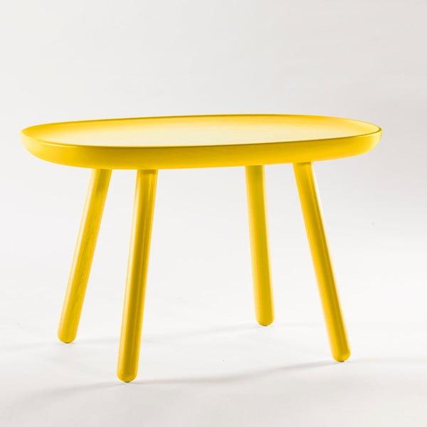Žltý odkladací stolík z masívu EMKO Naïve Medium
