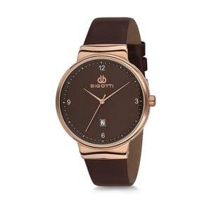 Černé pánské hodinky s koženým řemínkem Bigotti Milano Essence