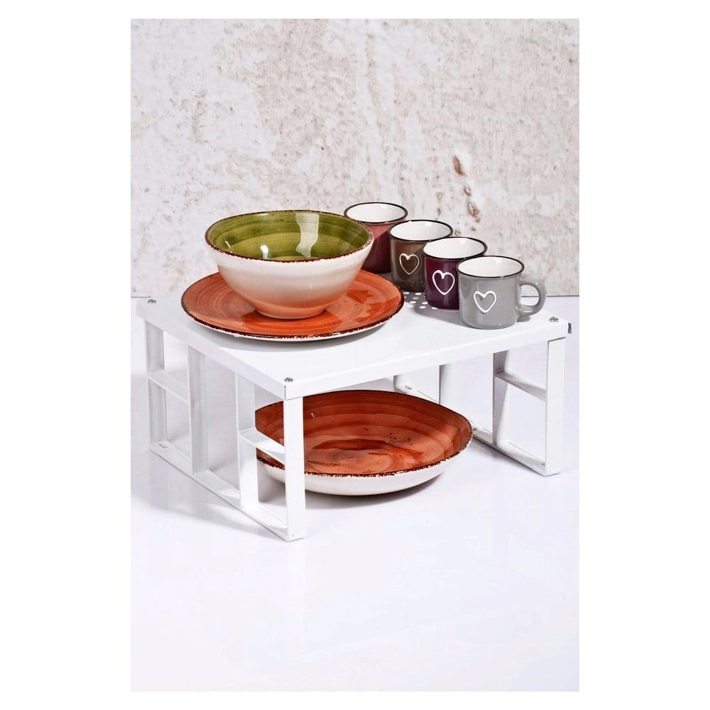 Bílá kuchyňská polička na talíře Kutahya