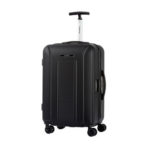 Černý kufr na kolečkách ve stříbrné barvě Murano Meridian