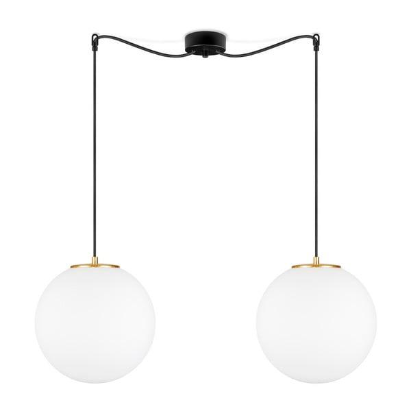 Biała lampa wisząca z 2 abażurami i obwódką w kolorze złota Sotto Luce TSUKI L