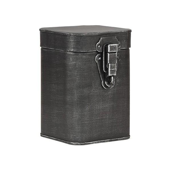Černá kovová úložná dóza LABEL51, výška 17cm