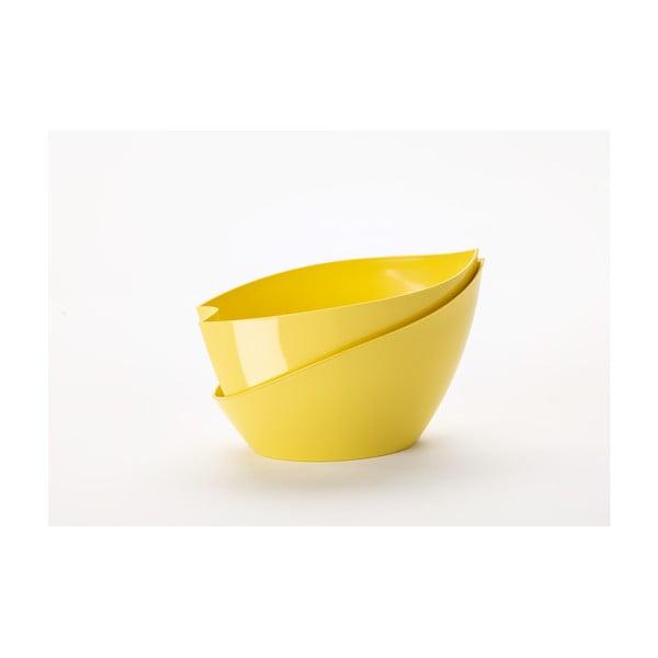Żółta doniczka z systemem nawadniania Plastia Doppio