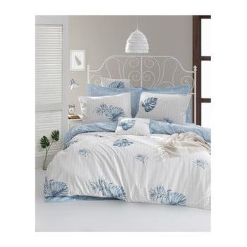 Lenjerie de pat cu cearșaf din bumbac ranforce, pentru pat dublu Mijolnir Terezie Blue, 160 x 220 cm