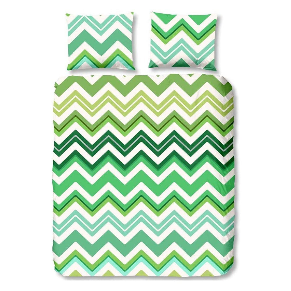 Zelené povlečení na jednolůžko z bavlny Muller Textiels Premento Zigzag, 140 x 200 cm