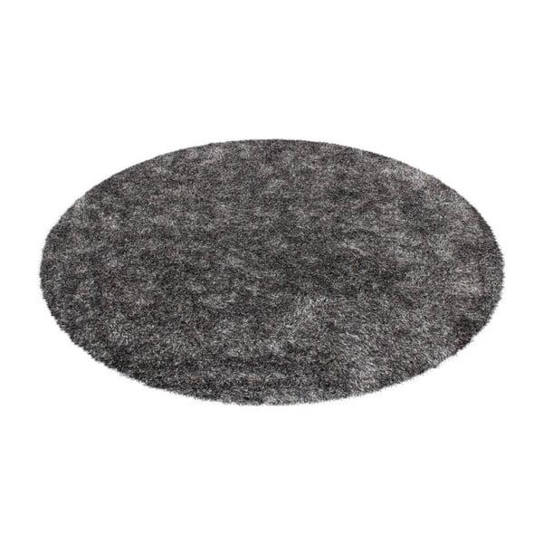 Šedý kulatý ručně tkaný koberec Kayoom Crystal 350 Grau Weich, ⌀ 160 cm