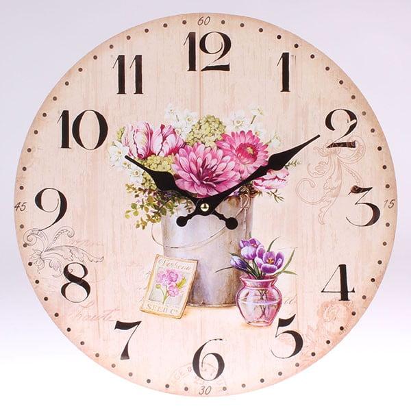 Dřevěné hodiny Vintage Flowers