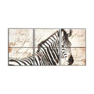3dílný obraz Zebra, 45x90 cm
