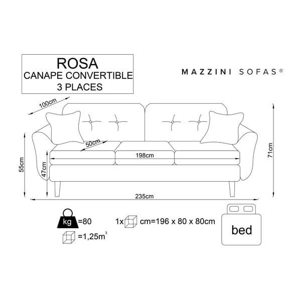 Šedá rozkládací pohovka se světlými nohami Mazzini Sofas Rose