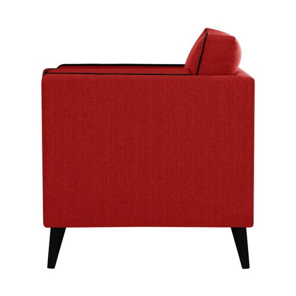 Červená trojmístná pohovka s detaily v černé barvě Stella Cadente Maison Atalaia Red