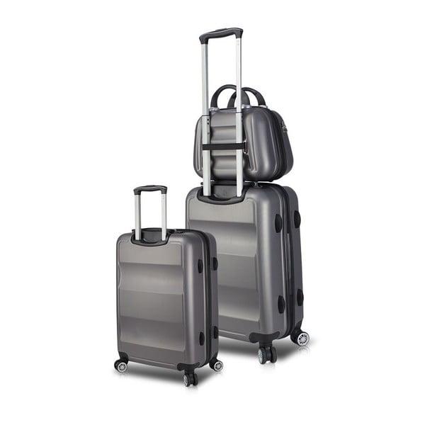 Zestaw 2 szarych walizek na kółkach z USB i kuferka podróżnego My Valice LASSO Cab Med & MU