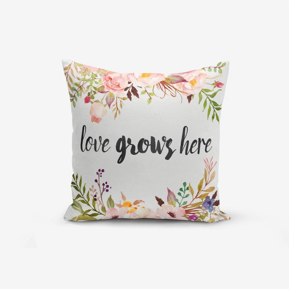 Povlak na polštář s příměsí bavlny Minimalist Cushion Covers Love Grows Here, 45 x 45 cm