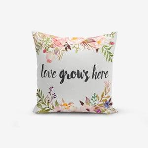 Povlak na polštář s příměsí bavlny Minimalist Cushion Covers Love Grows Here,45x45cm