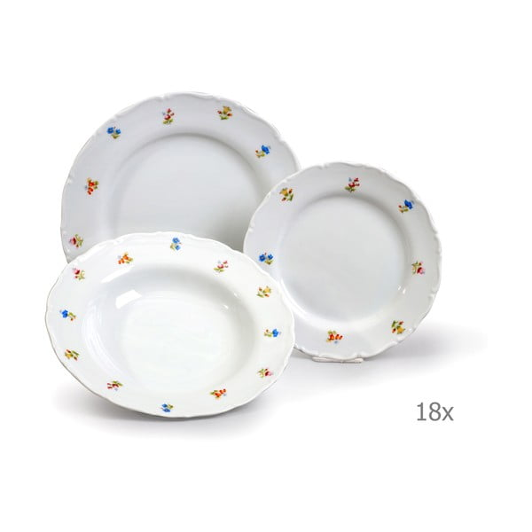 Sada 18 porcelánových talířů Thun Ophelia