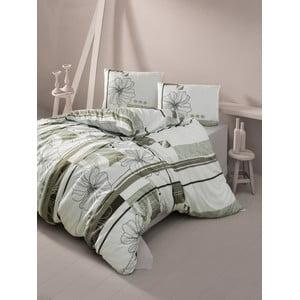 Lenjerie de pat cu cearșaf Elif Brown, 200 x 220 cm