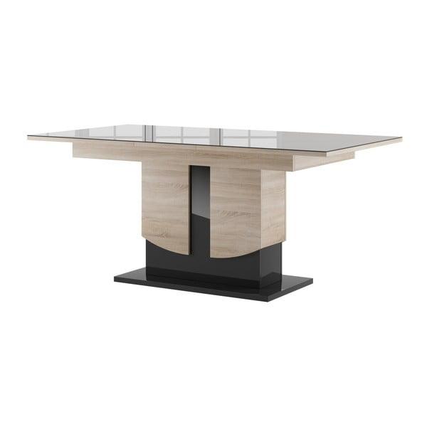 Rozkládací jídelní stůl v dekoru světlého dubového dřeva s černou deskou Szynaka Meble Star 14