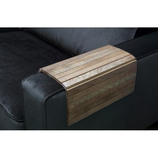 Hnedá drevená podrúčka na pohovku WOOOD