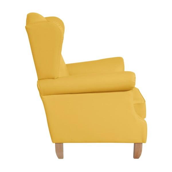 Žluté křeslo ušák Max Winzer Verita Leather Corn