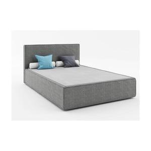 Tmavě šedá dvoulůžková postel Absynth Mio Soft, 140x200cm