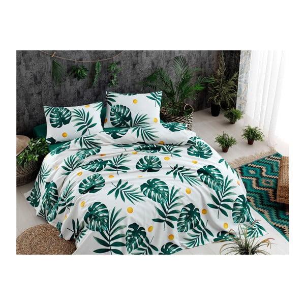 Monstera Green pamut ágytakaró lepedővel és 2 párnahuzattal, 200 x 235 cm