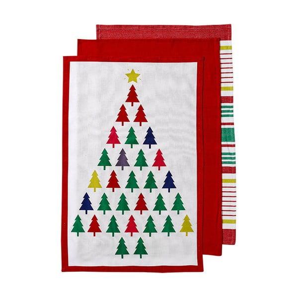 Zestaw 3 ścierek z motywem świątecznym Ladelle Bright Christmas Tree, 70x45 cm