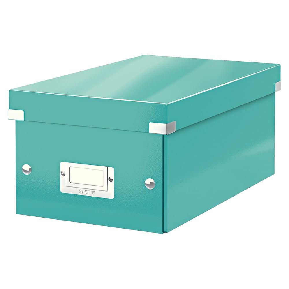 Tyrkysově modrá úložná krabice s víkem Leitz DVD Disc, délka 35 cm