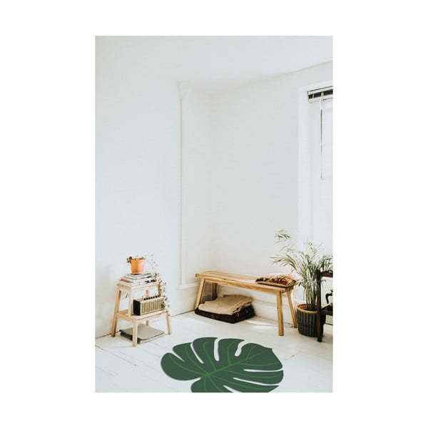 Zelený koberec ve tvaru listu monstery Little Nice Things, 80x100cm