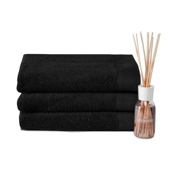 Set 3 ručníků a difuzéru Pure Black