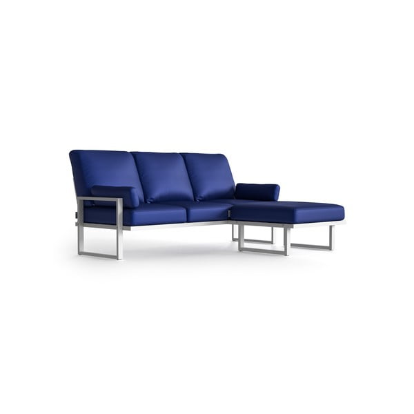 Královsky modrá rohová pohovka s odnímatelnou podnožkou a světlými nohami Marie Claire Home