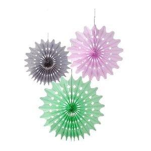 Papírové dekorace Fan Macaron, 3 kusy