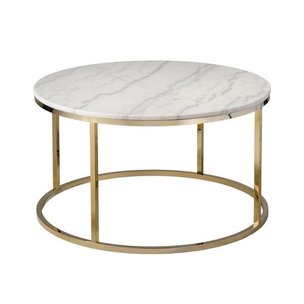 Bílý mramorový konferenční stolek s podnožím ve zlaté barvě RGE Accent, ⌀85cm