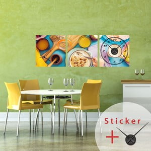 Samolepící hodiny Delicious Breakfast, 40x120 cm
