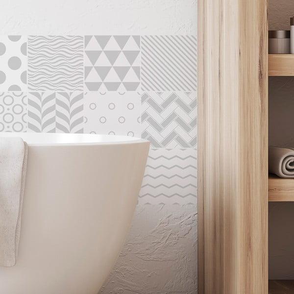 Sada 9 dekorativních samolepek na stěnu Ambiance Finnish, 15 x 15 cm