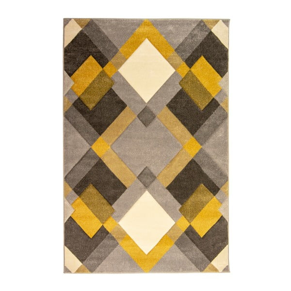 Šedo-žlutý koberec Flair Rugs Nimbus Ochre, 120 x 170 cm