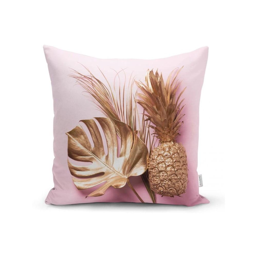 Povlak na polštář Minimalist Cushion Covers Golden Ananas and Leafes, 45 x 45 cm