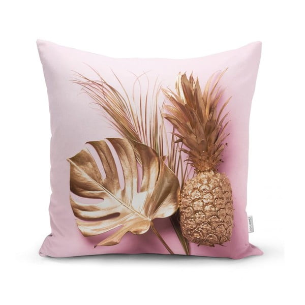 Povlak na polštář Minimalist Cushion Covers Golden Ananas and Leafes, 45 x 45 cm
