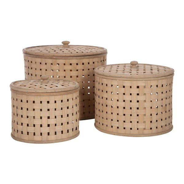 Sada 3 košů s poklopem Bamboo Nature