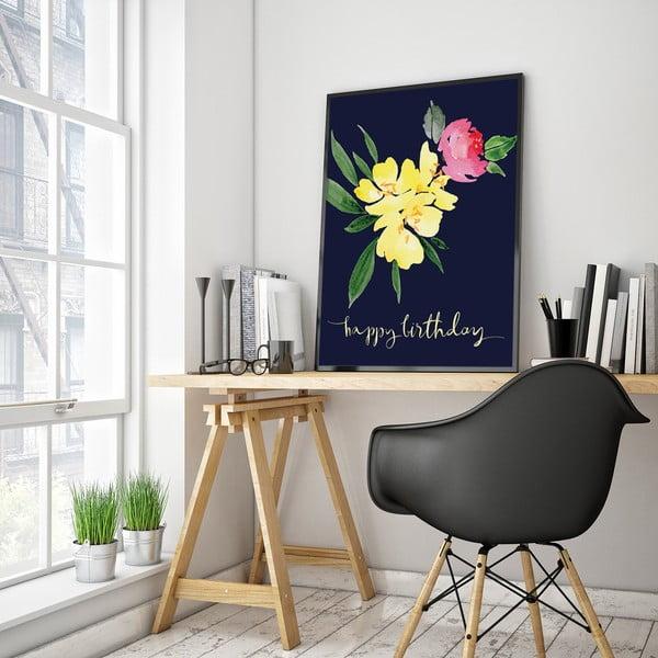 Plakát s květinami Happy Birthday, 30 x 40 cm