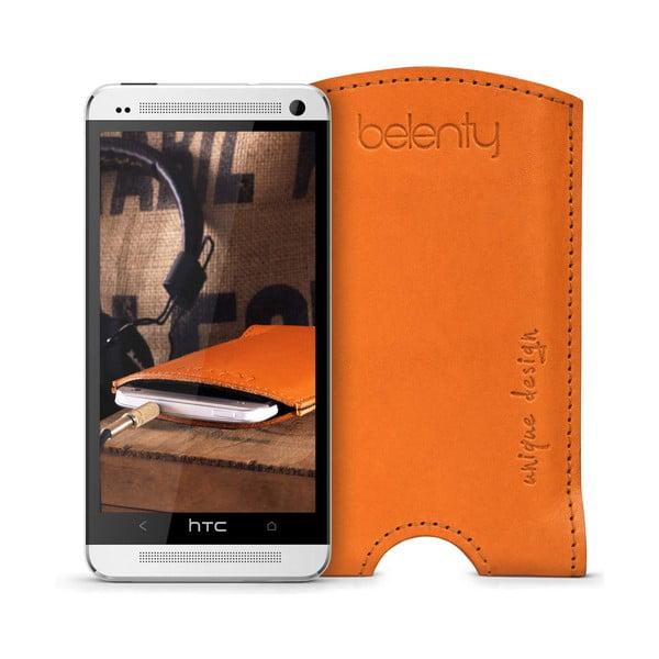 Kožený obal na HTC One M7 Cognac
