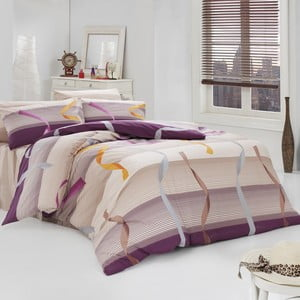 Lenjerie de pat cu cearșaf din bumbac Ribbon, 200 x 220 cm