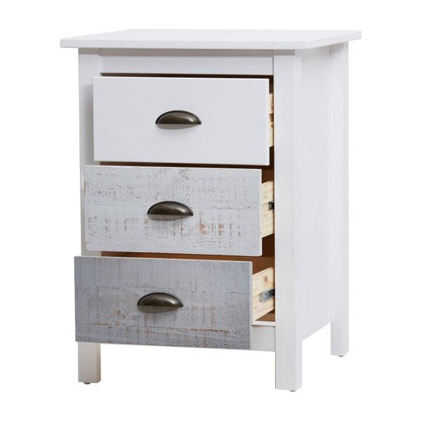 Bílo-šedý noční stolek Marckeric Romantica