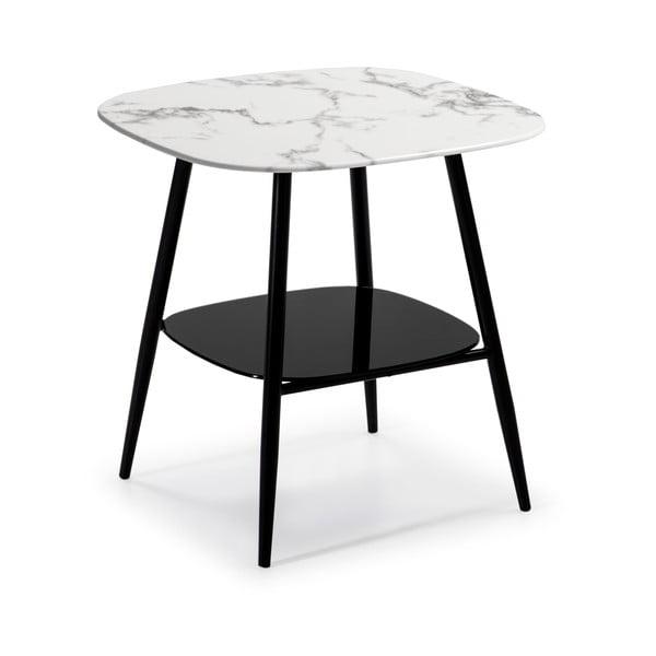 Biało-czarny stolik ze szklanym blatem w dekorze marmuru Marckeric Alina