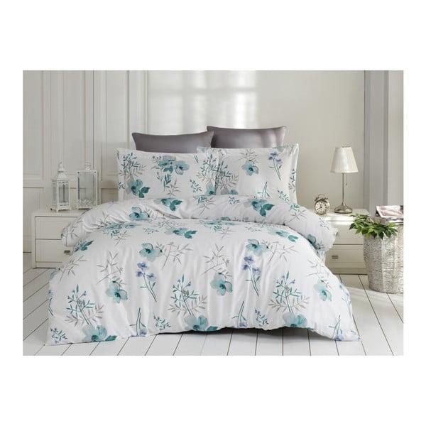 Obliečky s plachtou z bavlneného saténu na dvojlôžko Blomster Blue, 200 x 220 cm